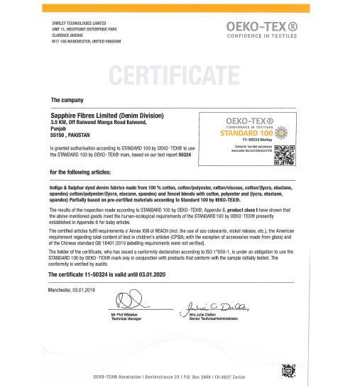 Certificate Of Oeko Tex